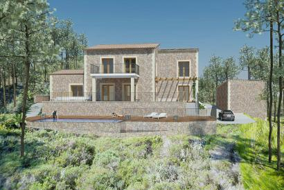 Villa in minimalist style under construction with pool in Calvia , Son Font