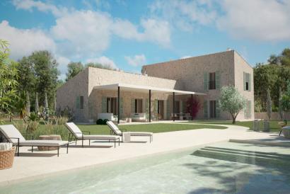 Finca con proyecto para casa de 4 dormitorios con jardín y piscina, Campos